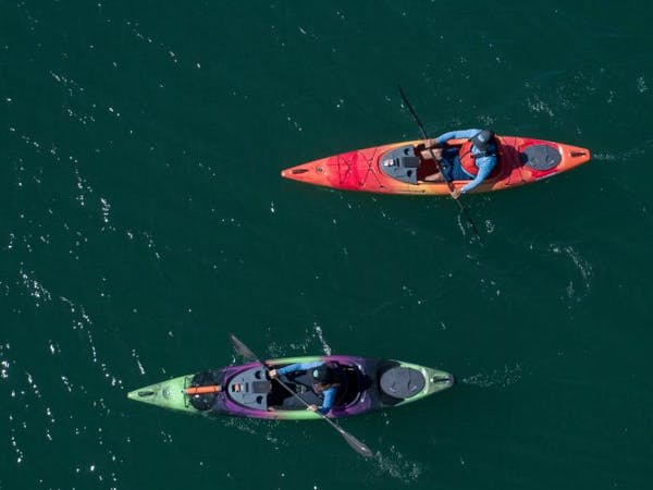 Two kayakers from above