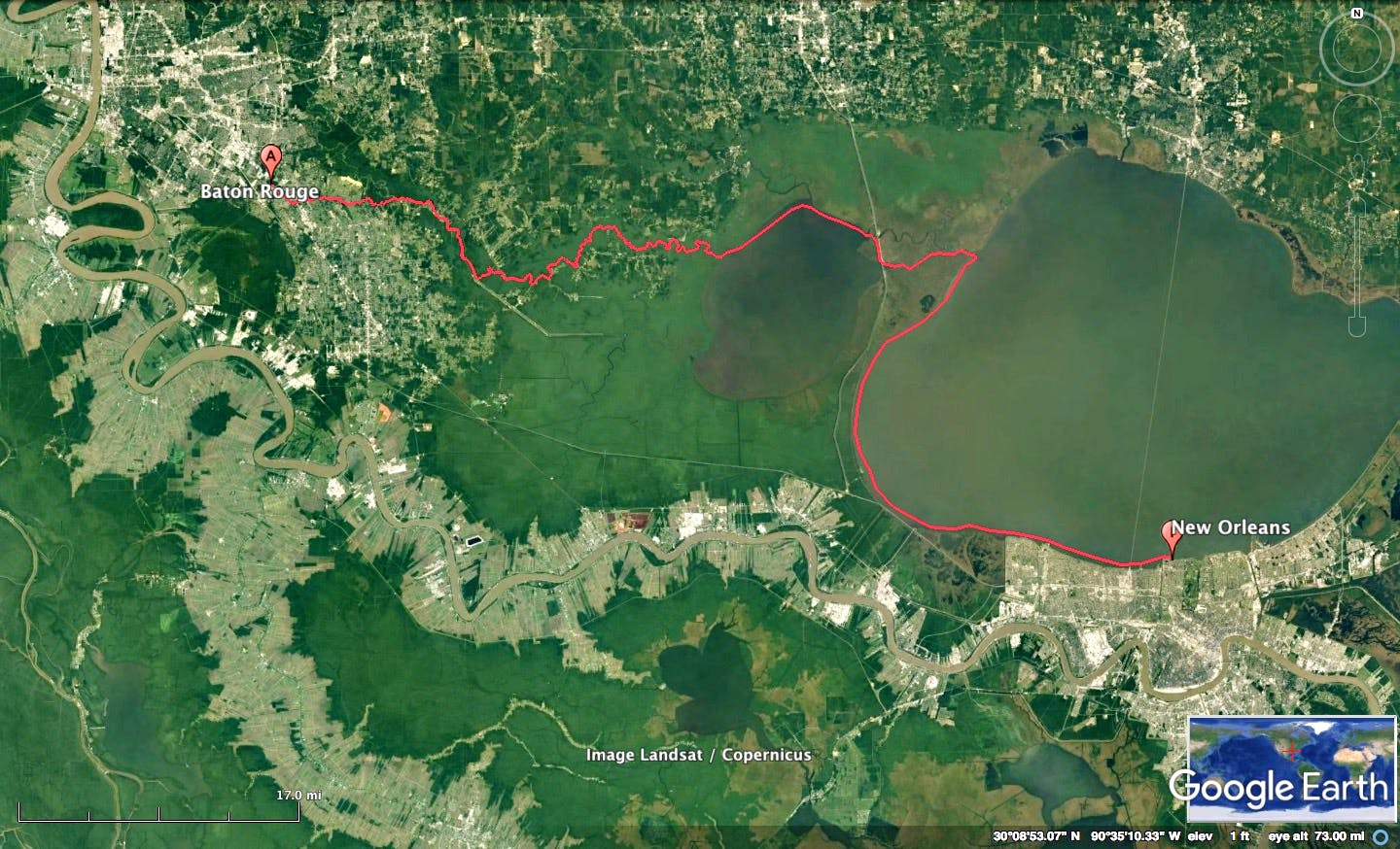 New Orleans to Baton Rogue Kayak Route