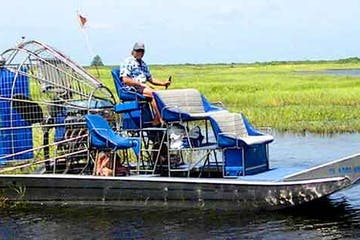 one person on an airboat