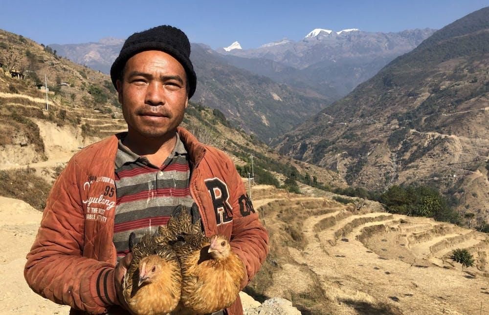 Nepali man in his village of Lamjung.