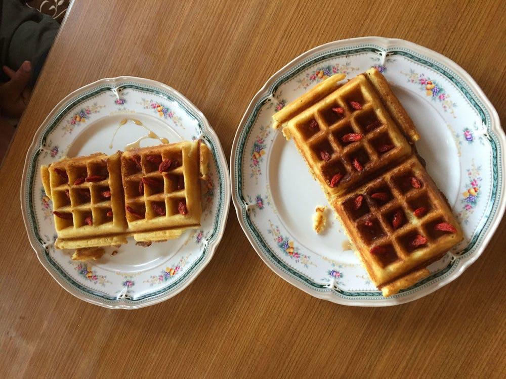 Waffles with Goji berries