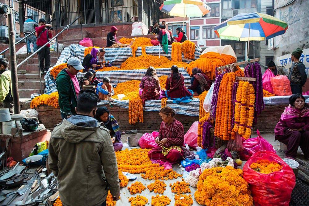 Flower garlands for deepavali in Nepal
