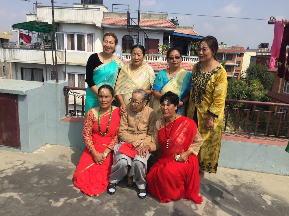 Family gathering during Dashain Festival in Nepal