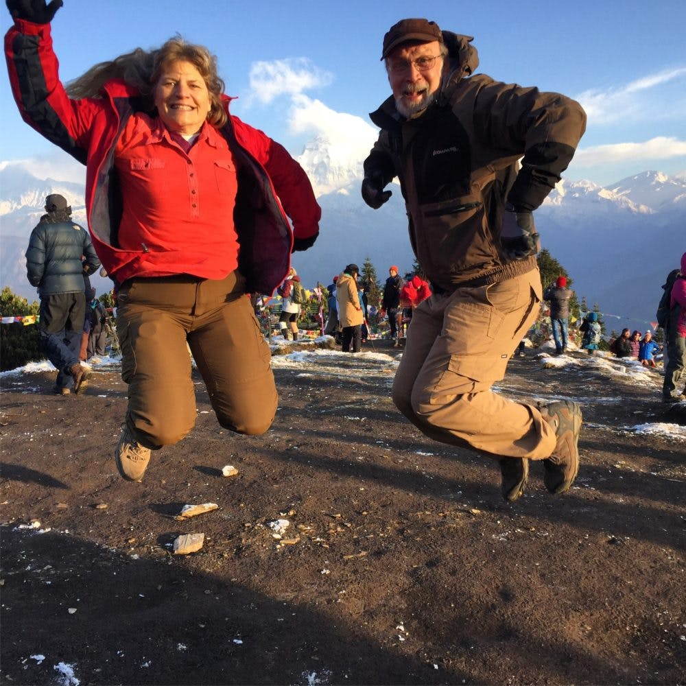 Jumping with joy while trekking in Nepal