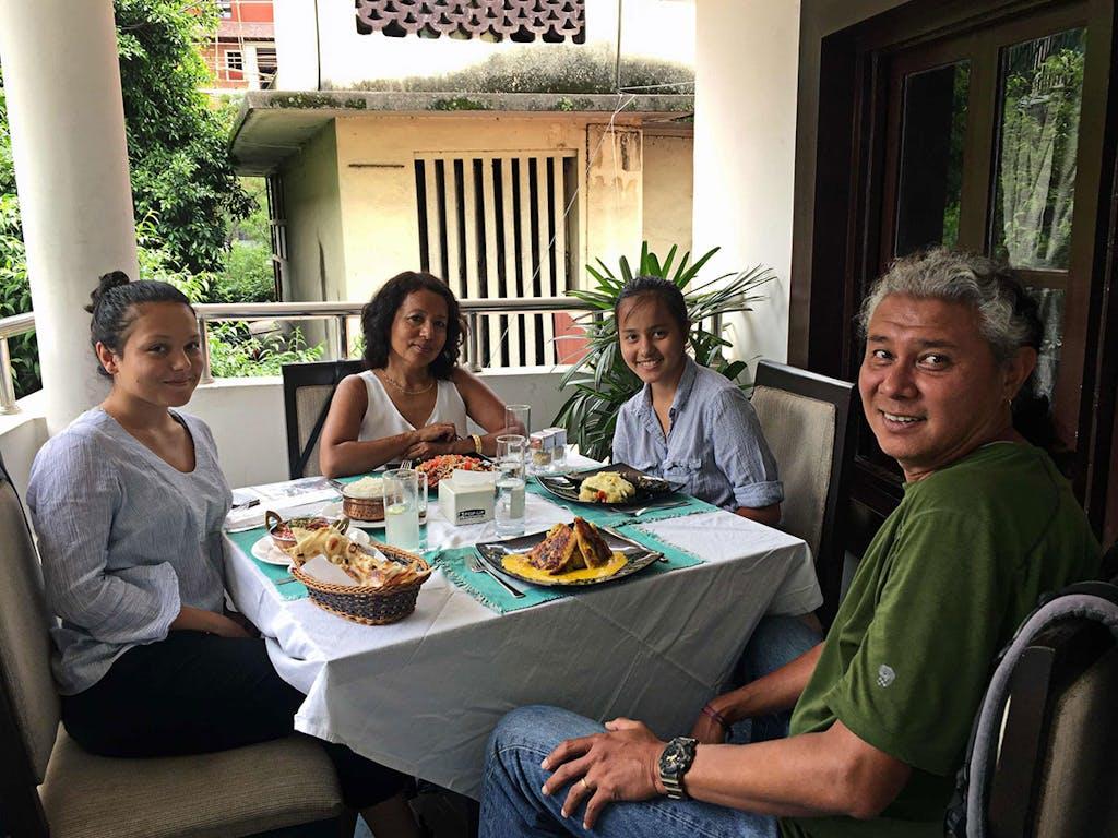 Having lunch in Kathmandu