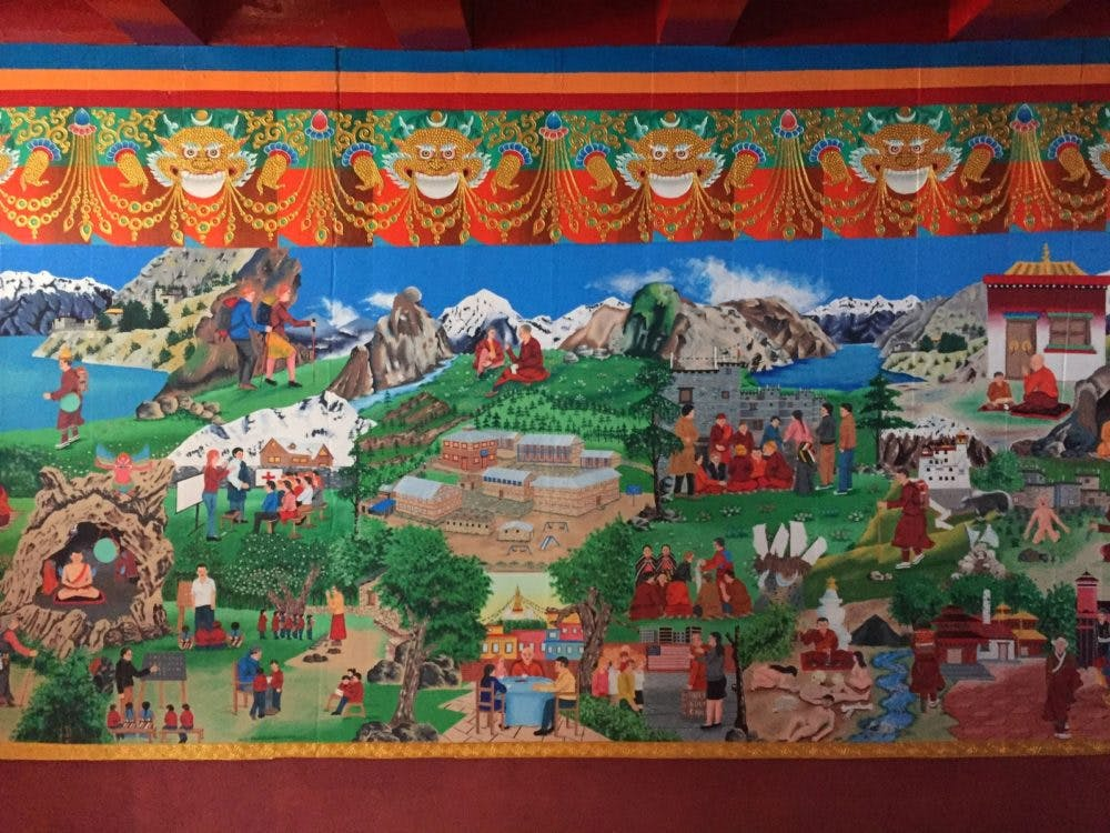 Murals explaining how the school was started