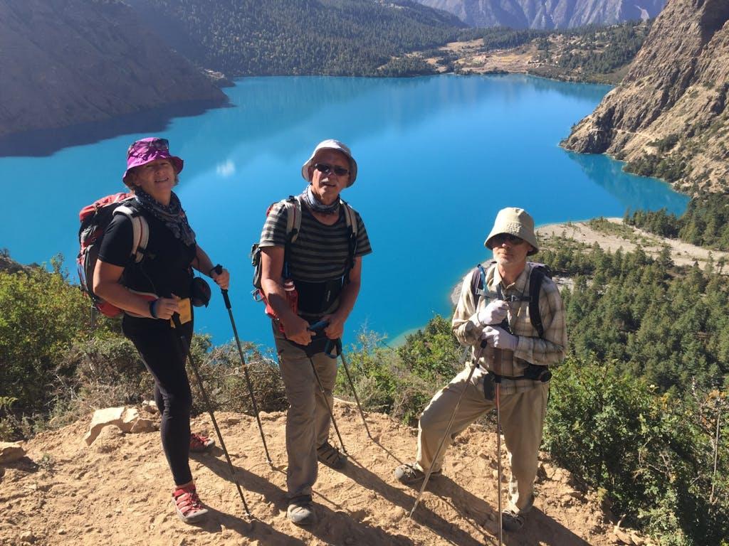 Trekkers above Phoksundo Lake Dolpo