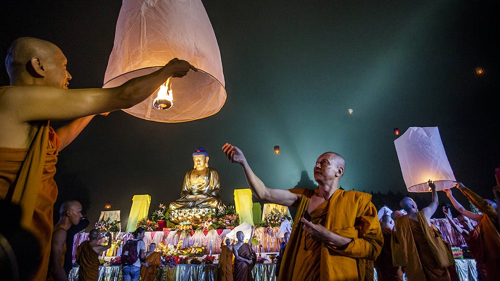 Monks during Vesak day.