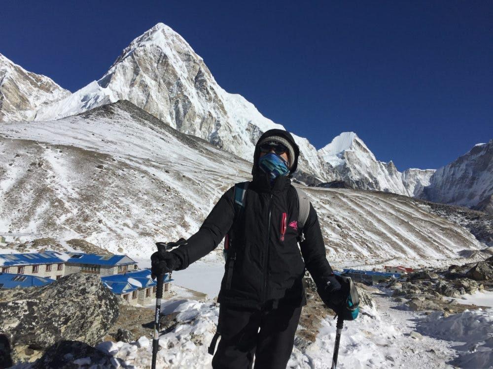 Trekker above Gorakshep on the Everest base camp trek
