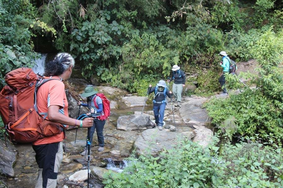 Group trek in Nepal