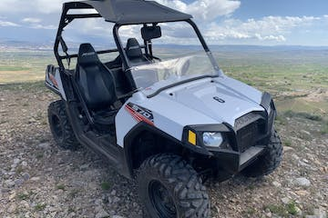 rzr rental parked in the mountain landscape