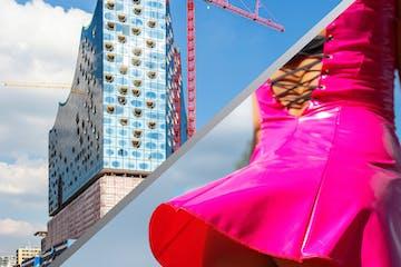 Elbphilharmonie auf einer und eine Frau in einem rosa Latex-Kleid auf der andere Seite