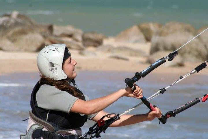 woman kiteboarding