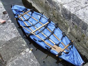 Blue handmade canoe