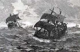 black and white picture of ships