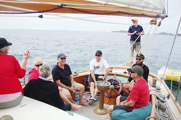 Group of people on board on boat to Waiheke Island