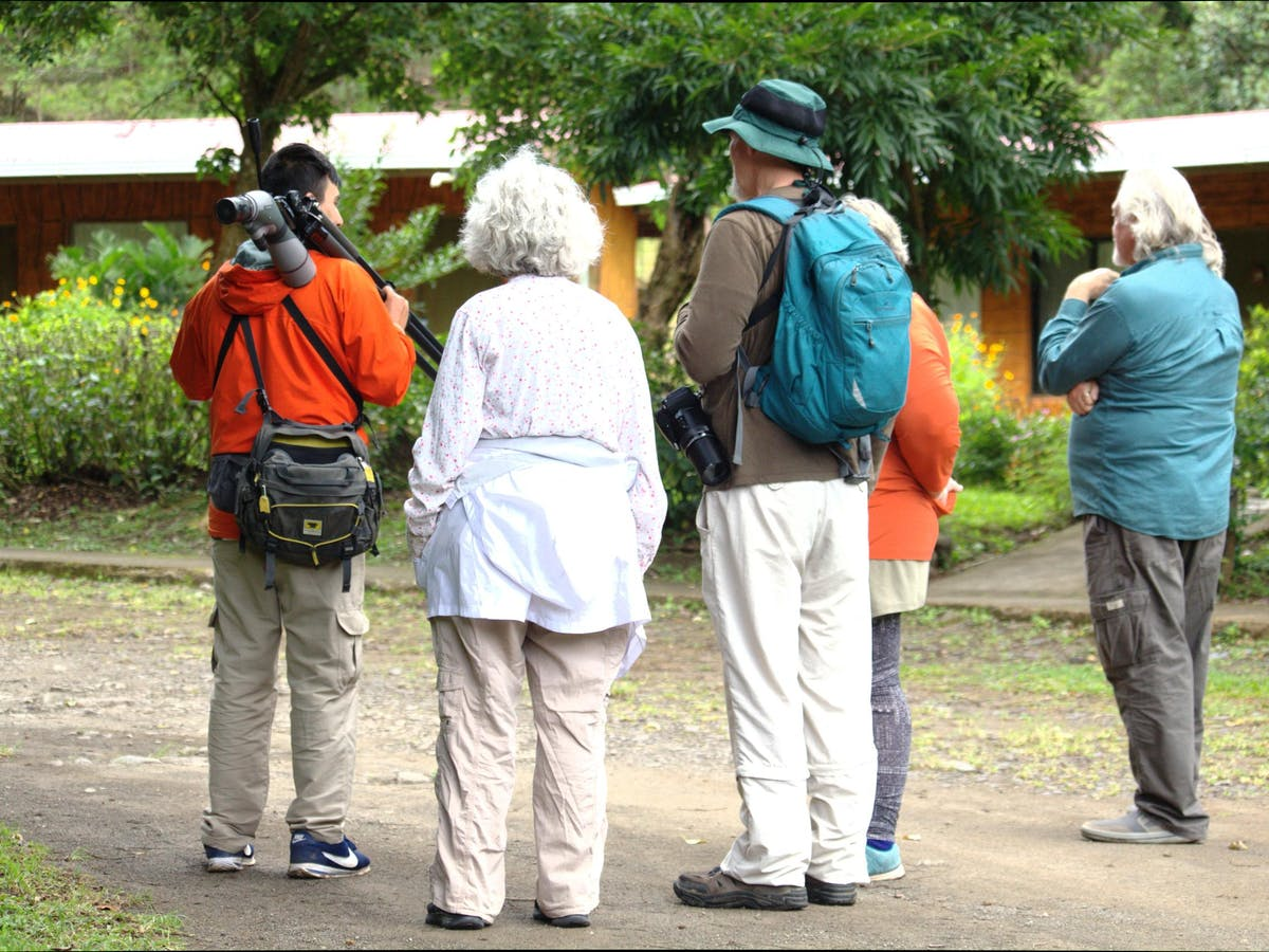 a group of people doing a birdwatching tour in Monteverde Costa Rica