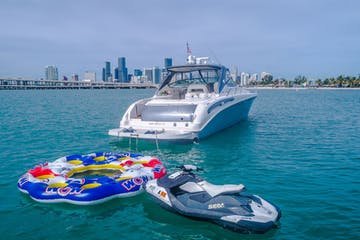 Water toys behind this boat rental in Miami Beach.
