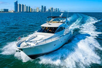 Rental yacht in Miami Beach cruising on the Atlantic Ocean.