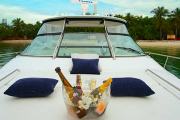 Drinks on the bow of this Miami Beach rental boat.