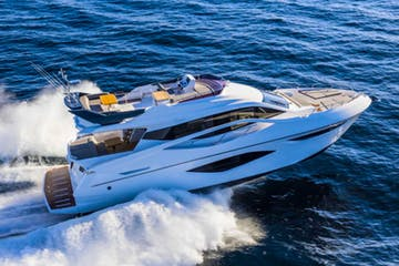 One of our rental yachts in Miami Beach cruising during a charter.