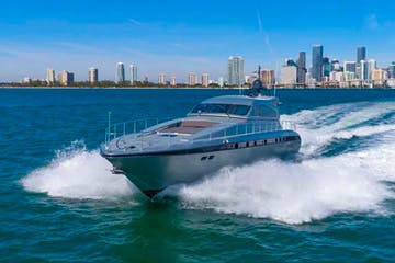 Rent a yacht in Miami cruising on Biscayne Bay.