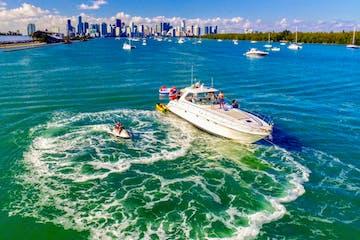 Miami Beach Florida Boat rental at anchor near Marine Stadium.