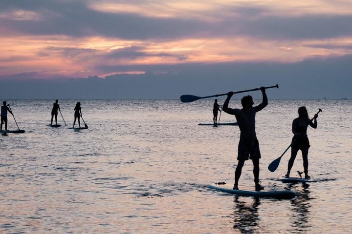 doing paddle board during sunset