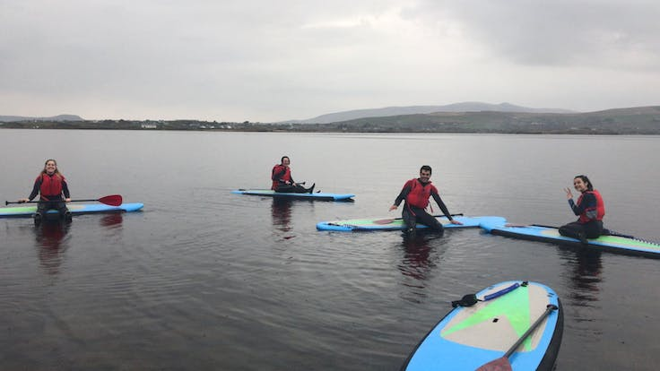 erasmus group on paddle boards