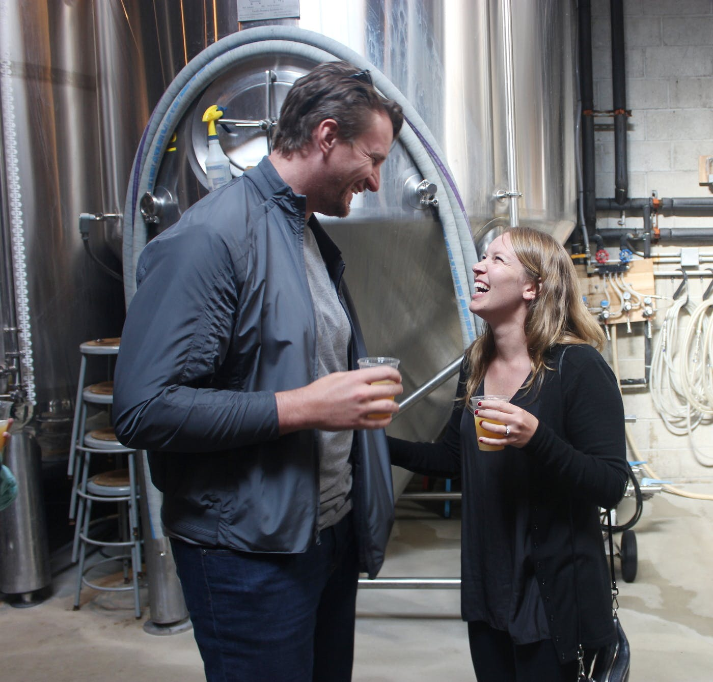 couple at the brewery