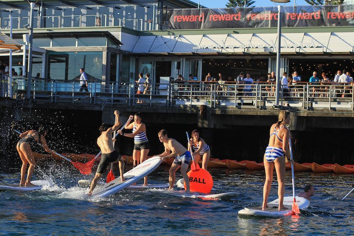 People playing SUPBALL in Manly