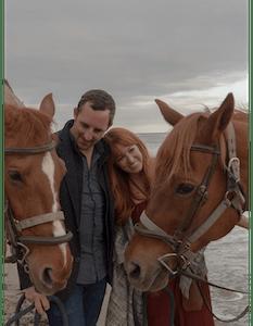 Couple in Beachfront doing Horseback Ride