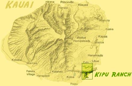 Map of Kauai with Kipu Ranch