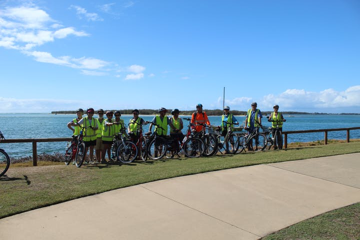 a group riding bikes