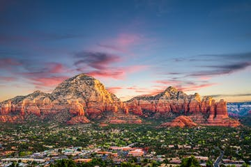 View of Sedona mountains and the town
