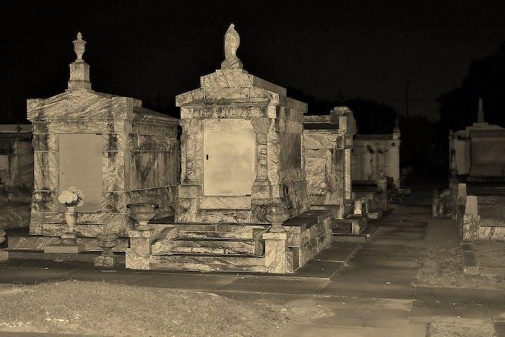 Cemetary at night
