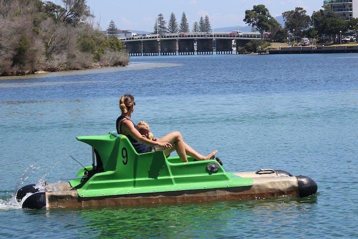 woman on a float mechanism