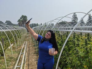 Woman taking selfie in front of rows of cannabis plants