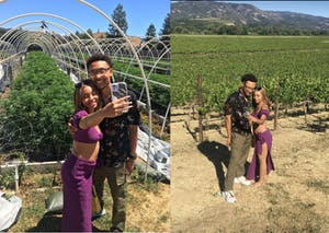 Couple taking selfies on a cannabis farm tour and at a vineyard