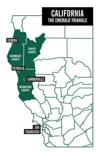 map of The Emerald Triangle