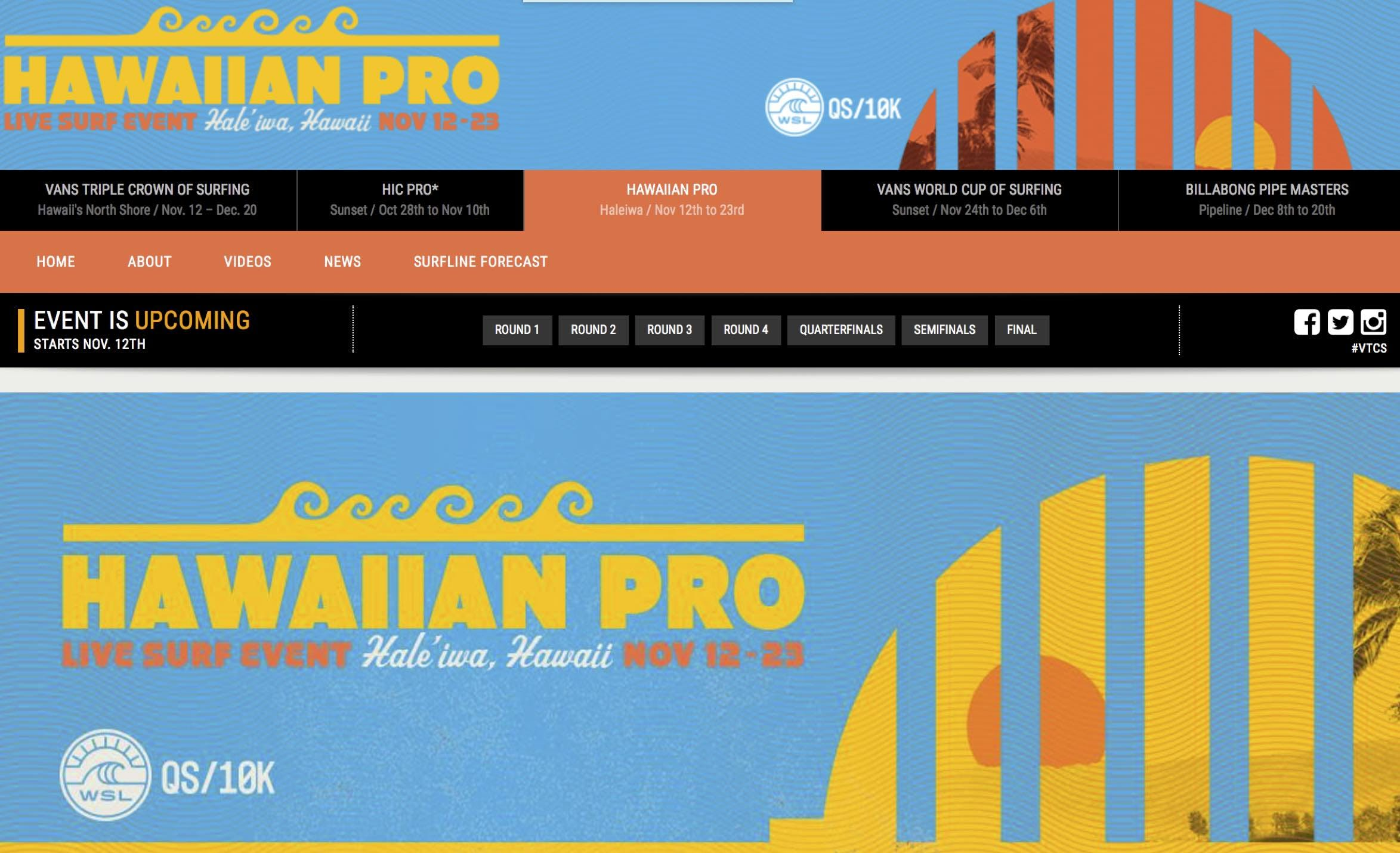 Hawaiian Surf Pro Website