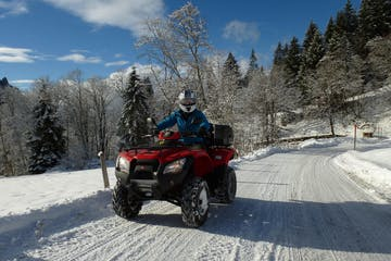 during a quad tour during winter