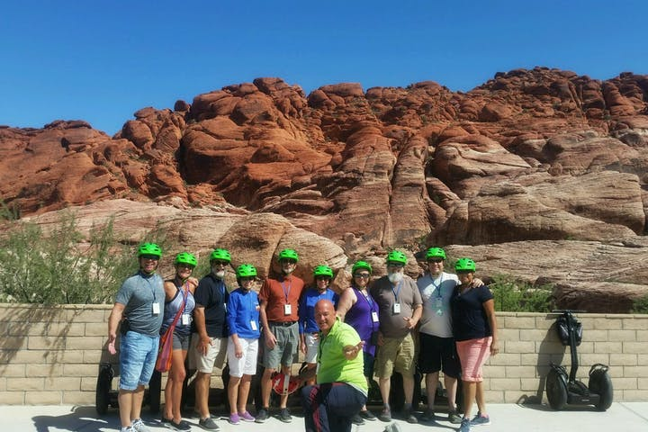 tour group in red rock canyon on Segways