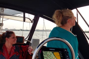 three girls on the boat