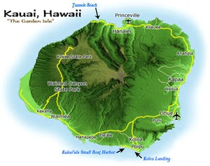 Kauai Diving Map