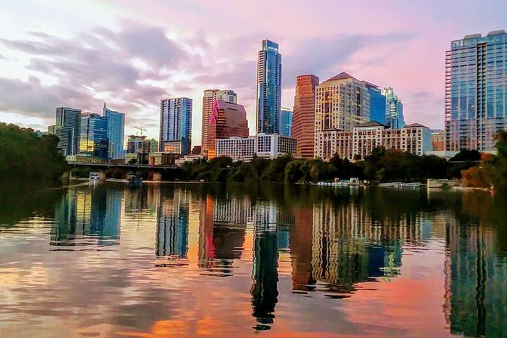 view of austin skyline under sunset colors