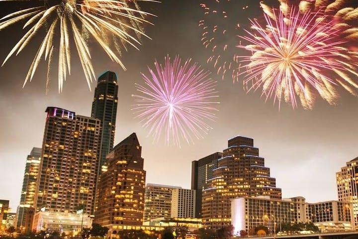 fireworks over downtown austin texas