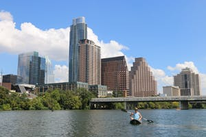 view of downtown austin tx from kayak