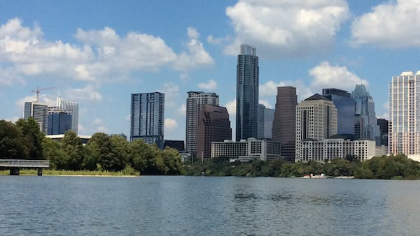 skyline of austin tx from lady bird lake