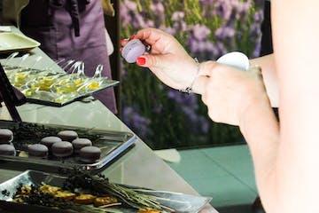 grabbing some lavender macarons